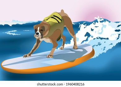 Dog Surfing. Dog on a surfboard, sea and sky on the background