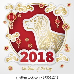 Dog is a symbol of the 2018 Chinese New Year. Paper cut art and Doodle style. Design for greeting cards, calendars, banners, posters, invitations.