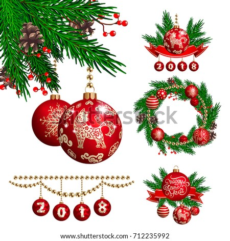the dog is a symbol of the 2018 chinese new year vector set of christmas - Chinese Christmas Decorations
