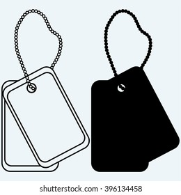 Dog tags. Isolated on blue background. Vector silhouettes