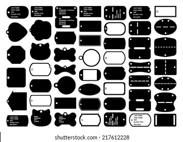 Dog tags set isolated on white