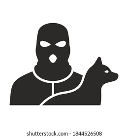 Dog theft icon. Stolen dog. Lost dog. Missing pet. Vector icon isolated on white background.