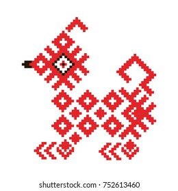 A dog from the traditional Belorussian  and Russian ornament symbol of the New Year