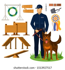 Dog trainer and agility obstacles. Police officer with shepherd and wall for jumping, medal and belt, dog-whistle, gloves and muzzle, jump circle. Doggy obedience and exercise, sport competition