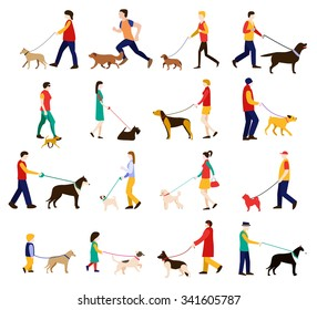 Dog trainer. Men, women and children in casual clothes walking the dogs of different breeds, active people, leisure time. Vector eps 10 format.