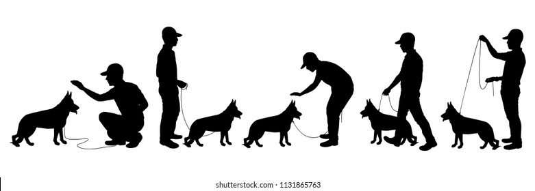 Dog and its trainer silhouette vector set