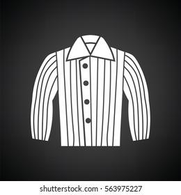 Dog trainig jacket icon. Black background with white. Vector illustration.