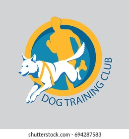 Dog training club, logo template, With a abstract dog jumping and a running human silhouette , vector illustration