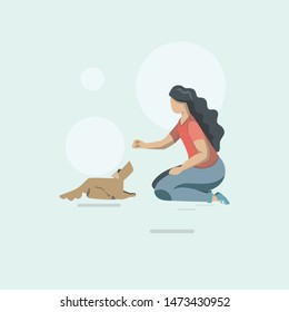 "dog training. the girl is training the dog and commands to ""lie down"". dog training exercises flat color vector illustration. Workout poster, banner design"