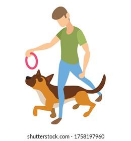 Dog training icon. Isometric of dog training vector icon for web design isolated on white background