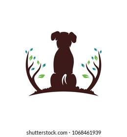 Dog and Tree logo design template. Vector Illustration.