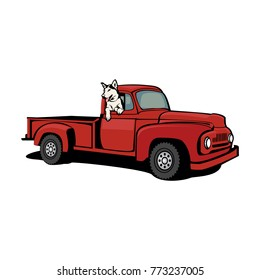 dog and truck vector