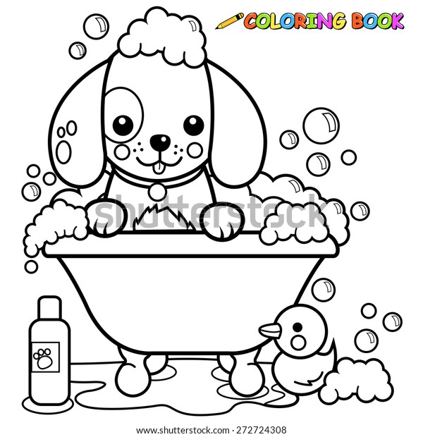 Dog Tub Taking Bath Coloring Book Stock Vector (Royalty Free ...