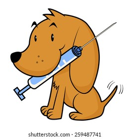 Dog and vaccine, vector illustration