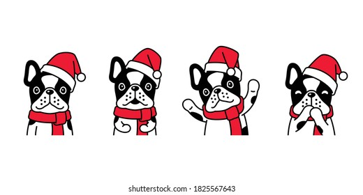 dog vector Christmas french bulldog Santa Claus hat puppy pet icon cartoon character symbol scarf illustration design