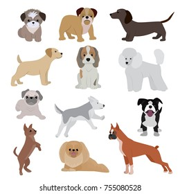Dog vector cute cartoon puppy illustration home pets doggy different breed and poses bulldog, hand small doggie terrier, maltese-dog. Friends smallest sise doggy puppy