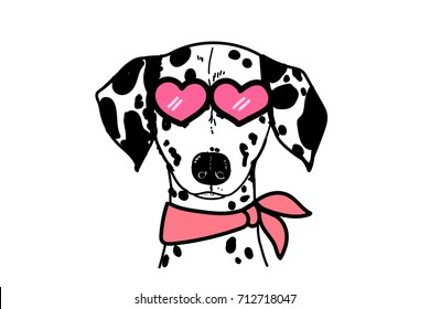 dog vector Dalmatian breed pink heart spotted puppy art funny face animal pink heart sunglasses with scarf illustrator white isolated cute wallpaper character design polka dot drawing