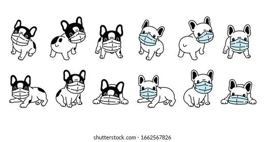 dog vector face mask covid-19 french bulldog coronavirus virus pm 2.5 icon teddy logo symbol character cartoon doodle illustration design