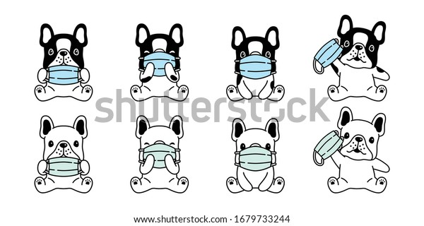 Dog Vector Face Mask Covid19 French Stock Vector Royalty Free