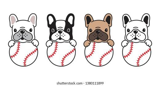 dog vector french bulldog baseball icon ball character cartoon pet logo puppy doodle illustration graphic