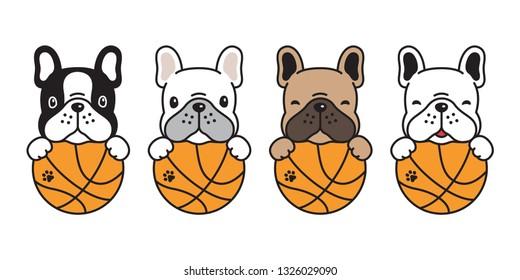 dog vector french bulldog basketball sport ball icon logo character cartoon puppy illustration doodle symbol