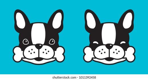 Dog vector french bulldog bone character puppy illustration icon cartoon