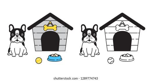 dog vector french bulldog house bowl ball cartoon character icon logo illustration