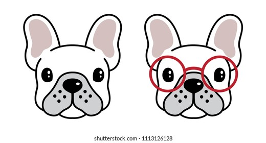 dog vector french bulldog icon logo cartoon illustration doodle glasses sunglasses