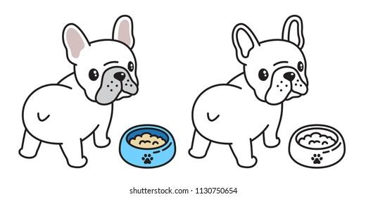 dog vector french bulldog icon logo bowl food cartoon character illustration symbol