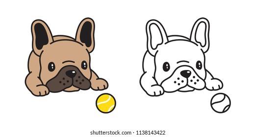 dog vector french bulldog icon logo tennis ball toy cartoon character illustration symbol doodle brown