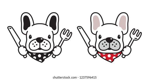 dog vector french bulldog icon logo eating food knife fork scarf cartoon character illustration