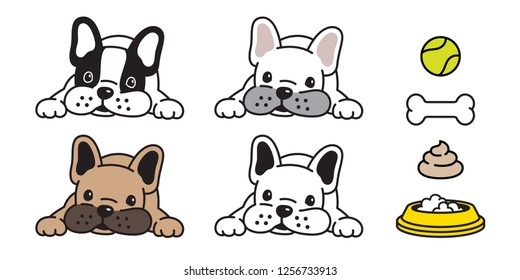 dog vector french bulldog icon bone ball bowl poo logo character cartoon illustration symbol doodle