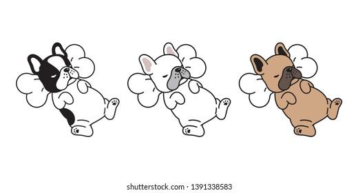 dog vector french bulldog icon sleeping bone pillow cartoon character puppy logo illustration doodle