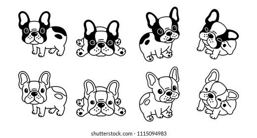 dog vector french bulldog logo icon cartoon character illustration symbol black