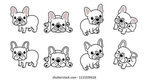 dog vector french bulldog logo icon cartoon character illustration symbol white