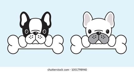 dog vector french bulldog pug dog bone illustration paw cartoon doodle