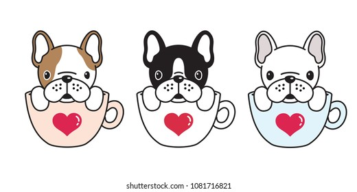 dog vector french bulldog pug illustration coffee cup heart icon logo cartoon