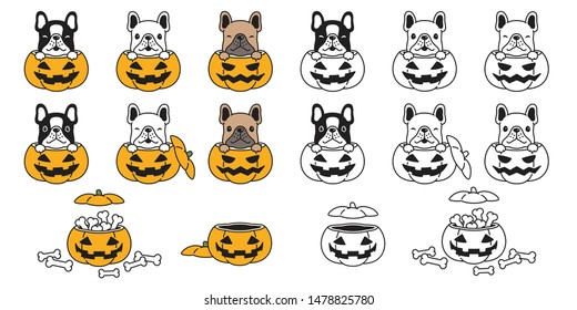 dog vector french bulldog pumpkin Halloween bone icon logo symbol character cartoon illustration doodle design