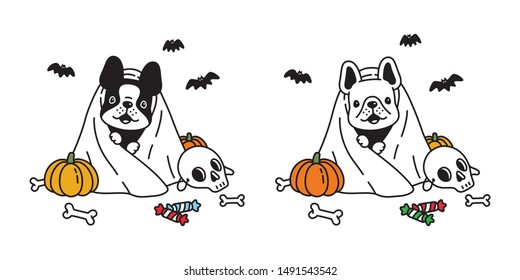 dog vector french bulldog pumpkin Halloween icon character cartoon ghost spooky bone bat candy logo symbol doodle illustration design