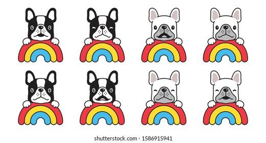 dog vector french bulldog rainbow puppy head pet icon cartoon character symbol breed illustration design