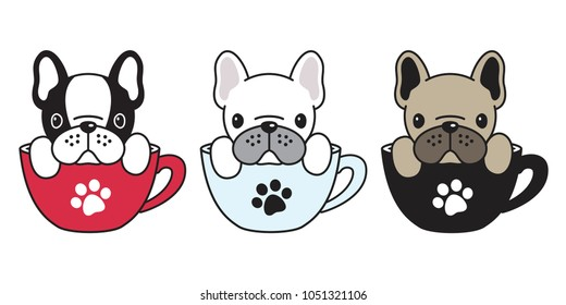 dog vector logo icon french bulldog pug illustration dog bone coffee cup cartoon