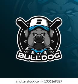 dog vector mascot logo design with modern illustration concept style for badge, emblem and tshirt printing. bulldog illustration for sport team.