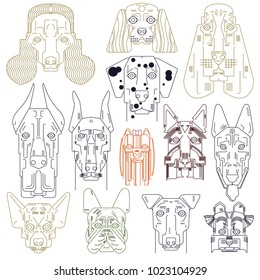 Dog vector set cute illustration home pets doggy different breed. Bulldog, hand small doggie terrier, maltese-dog. Modern vector plain line design icons and pictograms. Spaniel, bulldog, chihuahua.