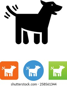 Dog wagging its tail icon