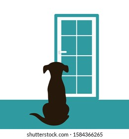 The dog is waiting for the owner at the door vector illustration