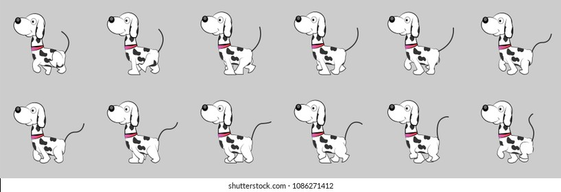 Dog walk cycle animation sprite sheet