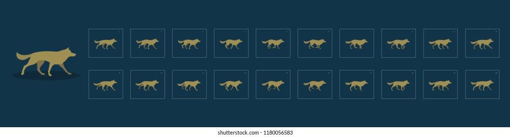 Dog walk cycle animation sprite sheet. Set of poses for the animation of the dog. The dog is walking. Vector illustration.