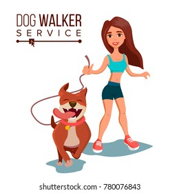 Dog Walker Vector. Walking With Pets. Go For A Walk. Flat Cartoon Illustration
