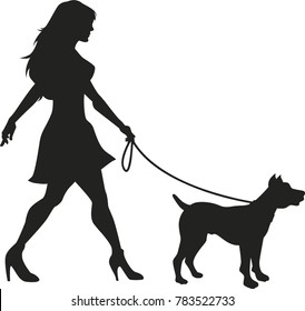 Dog walking lady vector silhouette