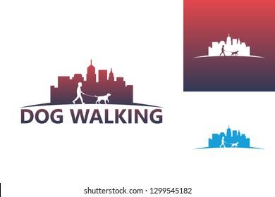 Dog Walking Logo Template Design Vector, Emblem, Design Concept, Creative Symbol, Icon